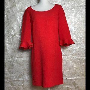 Ann Taylor Size 8 Crepe Shift Dress Orange